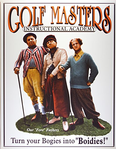 - Three Stooges Golf Masters Tin Sign 13 x 16in