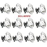 Crystal Cabinet Door Knob Handle Diamond Shaped Clear Glass Bling Diameter 40mm Handles Drawer Cupboard Pulls Wardrobe Home Hardware,12 Pack