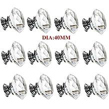 Crystal Cabinet Door Knob Handle Diamond Shaped Clear Glass Bling Diameter 40mm Handles Drawer Cupboard Pulls Wardrobe Home Hardware,12 Pack
