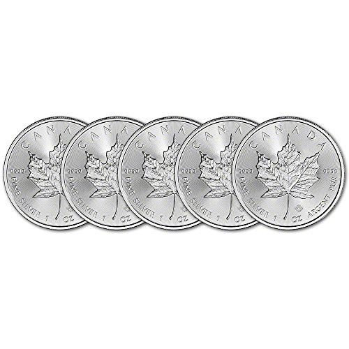 CA 2018 Canada Silver Maple Leaf (1 oz) FIVE (5) Brilliant Uncirculated