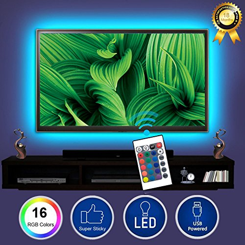 BESTHING TV Backlight, Bias Lighting Multi Color LED Strip with Remote Controller for Most 22''-47'' LED LCD Plasma Flat Screen TVs/Monitors