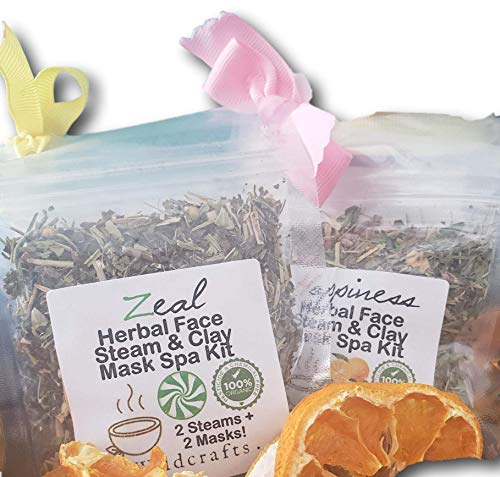Masque Spa Kit - Herbal Facial Steam and Bentonite Clay Mask Face Spa Kit Peppermint Zeal or Happiness Sweet Orange Aromatherapy for Blackheads Organic