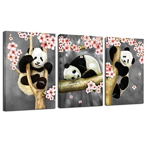(sechars - Animal Canvas Wall Art Modern Animals Painting Pandas Playing on Trees Branches Wall Decal Stretched and Framed Artwork for Kids Bedroom Living Room Decor )