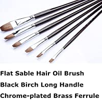 Golden Maple Brand Brush-Flat Red Sable Hair-Artist`s Painting Supplies Crafts Paintbrushes Set 6pcs/set-Long Birch Wooden Handle-Oil Acrylic Watercolor Paints Set by GOLDEN MAPLEの商品画像