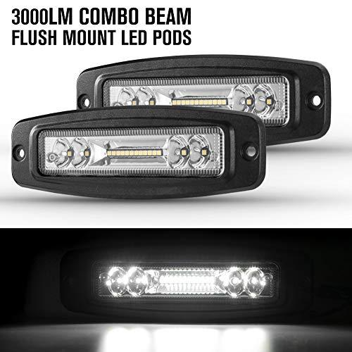 Flush Mount LED Pods 7 Inch LED Driving Lights 3000LM Flood Spot Beam LED Light bar for Off road Jeep Truck SUV ATV UTV Bumper Light Thin 2 Pack ()