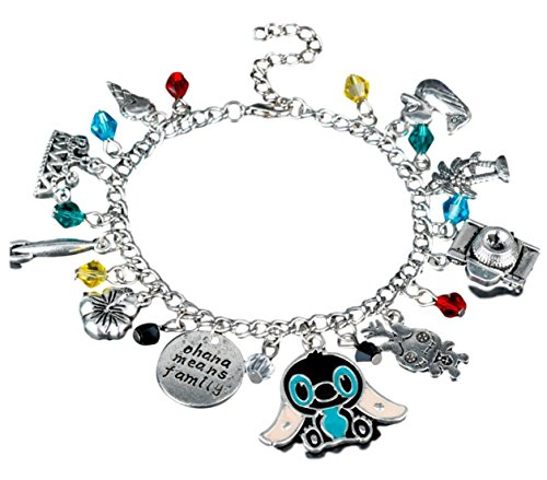 (Mainstreet247 Lilo & Stitch Themed Silvertone Metal Novelty Charm Bracelet With Plastic Gems)