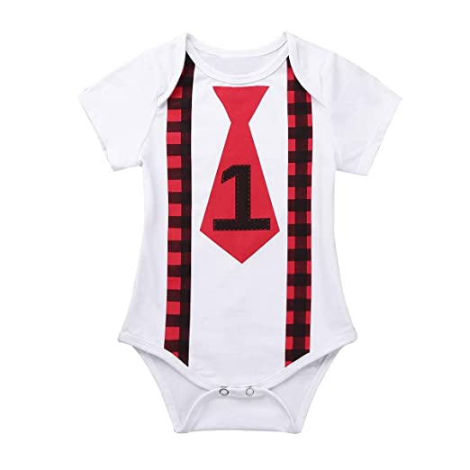 84be7dc3dc3d Amazon.com  FEESHOW Infant Baby Boys 1st Birthday Outfit Short ...
