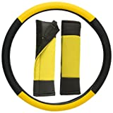 OxGord Leatherette Steering Wheel Cover, Yellow Black