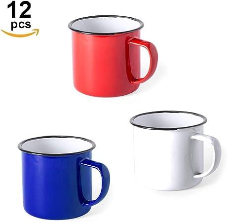 FUN FAN LINE - Set de Tazas metálicas Vintage o Retro presentada en Caja Individual (Rojo, Azul y Blanco, 12 Tazas ...