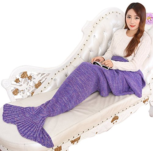 Porpora Mermaid Tail Blanket, Mermaid Crochet Knitting Blanket, Best Birthday Christmas gift Blanket Handmade Living Room Sleeping Blanket – Adult Pur…
