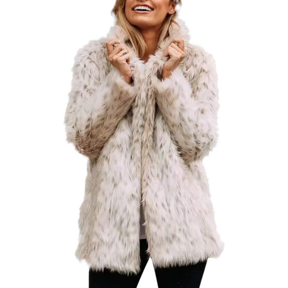 Beige Whitegeese Women Winter Warm Fuzzy Thick Coat Fox Faux Fur Overcoat Jacket Coat
