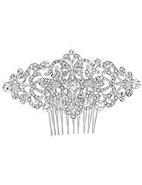 LoveinDIY Women Hair Side Comb Crystal Flower Hair Comb Clips Clasp Updo Bun Maker