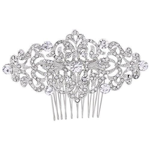 Piece 500 Crystal - EVER FAITH Art Deco Wave Bridal Hair Side Comb Clear Austrian Crystal Silver-Tone