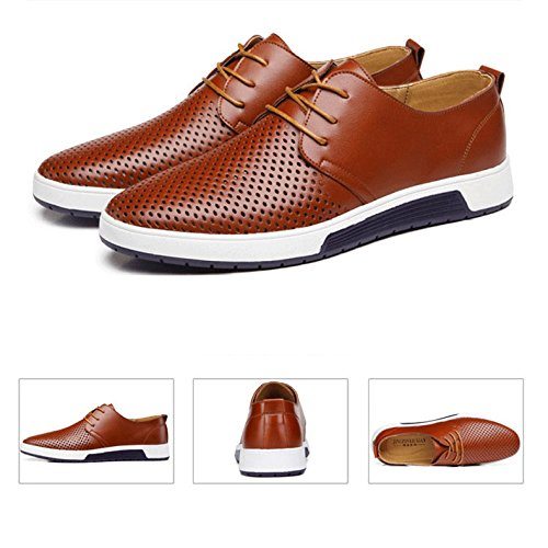 In HGDR Fori Brown Da Business Casual Da Da Scarpe Sera Pelle Stringate Dress Scarpe Uomo Traspiranti Sera Estate Er0qEHT