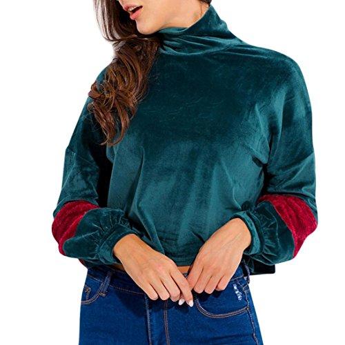 Camicetta Magliette Stand Casual Solido Manica Donna Rcool Top Verde Lunga Collare aO8wZZ
