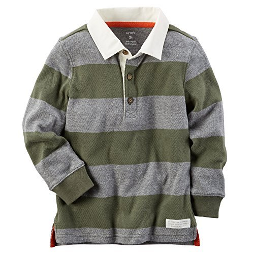 Carter's Baby Boys' Striped Rugby Polo Shirt (Olive, 6 Months) (Shirt Rugby School)