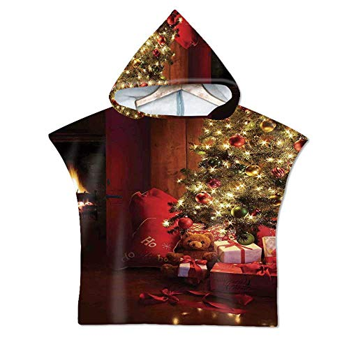 Christmas Soft Hooded Beach Bath Towel,Xmas Scene with Decorated Luminous Tree and Gifts by The Fireplace Artful Image for Teenagers & Children,29.5''W x 43.3''H