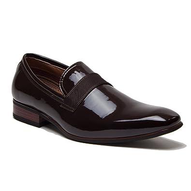 ccfd8b7798 Ferro Aldo Men's 19531P Patent Leather Slip On Tuxedo Dress Shoes Loafers,  Brown, ...