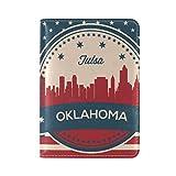 Vintage American Flag Oklahoma State Tulsa Skyline Leather Passport Cover - Holder - for Men & Women - Passport Case