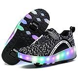 Kids LED Roller Skate Shoes, Boys Girls Wheel Roller Sneakers, Outdoor Skateboard Shoes (11.5 UK Child, Black 1)
