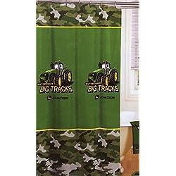 "John Deere Shower Curtain Big Tracks Fabric 72""x72"""