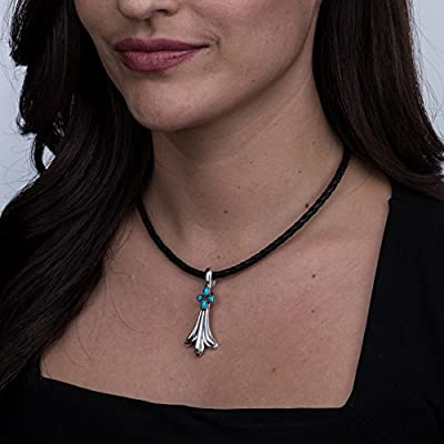 925 Silver Sleeping Beauty Turquoise Squash Blossom Pendant
