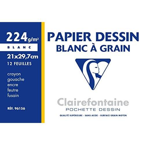 Clairefontaine 96156C Dessin à Grain pochette 12F 21x29,7cm 224g à grain Blanc