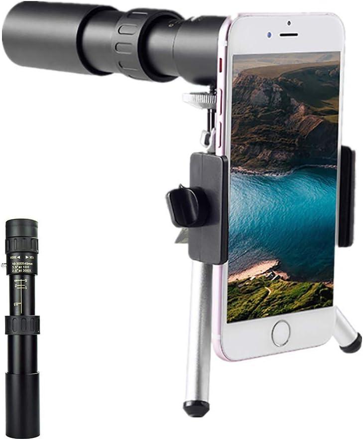 Telescopio monocular 10-30040mm 4K 10-300X40 mm Super teleobjetivo zoom telescopio monocular para viajes en la playa Con tr/ípode y clip telescopio monocular de alta definici/ón