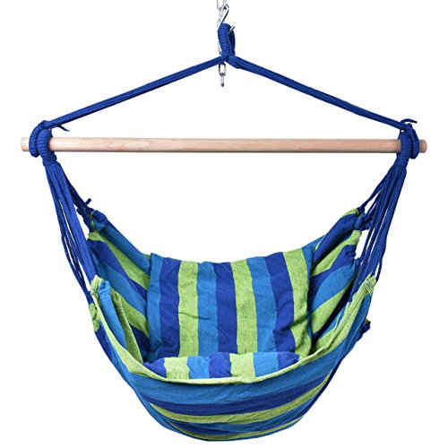 Hammock Hanging Rope Chair Porch Swing Seat Patio Camping Portable Premium Cotton Canvas Blue -