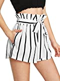 SweatyRocks Women's Casual Elastic Waist Striped Summer Beach Shorts with Pockets (Medium, Black_White#3)