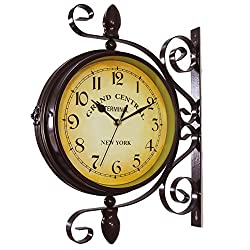 KiaoTime Vintage Double Sided Wall Clock Iron Metal Silent Quiet Grand Central Station Wall Clock Art Clock Decorative Double Faced Wall Clock 360 Degree Rotate Antique Wall Clock (Dark Brown Color)