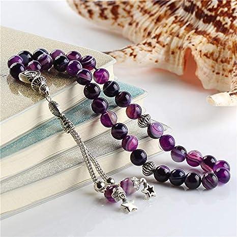 Amazon.com: Ochoos ESB 100% Natural Purple Striped Agates Stone Islamic 33 Prayer Beads Tasbih Engaved Allah Muhammad Misbaha Tesbih Sibha Masbaha - (Color: 8MM 33tesbih): Clothing