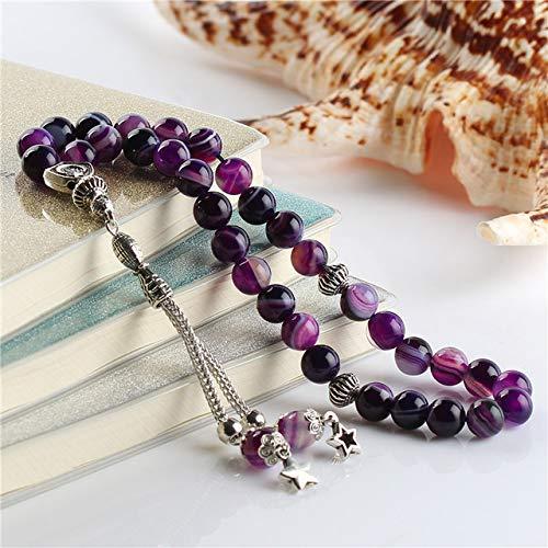 Ochoos ESB 100% Natural Purple Striped Agates Stone Islamic 33 Prayer Beads Tasbih Engaved Allah Muhammad Misbaha Tesbih Sibha Masbaha - (Color: 8MM 33tesbih)