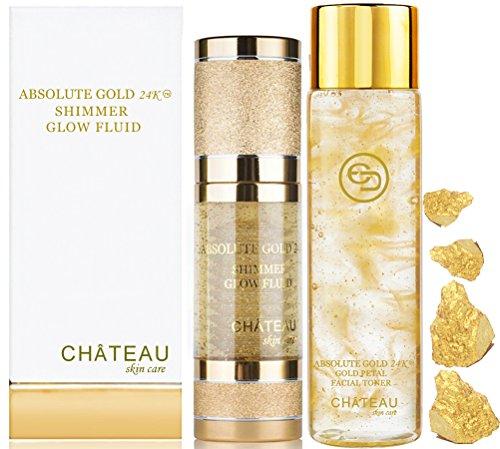 Absolute Gold 24K GOLD PETAL FACIAL TONER - 24K SHIMMER GLOW FLUID ( pack 2). 24 KARAT GOLD / COLLAGEN / HYALURONIC ACID. For all skin - Toner 24k