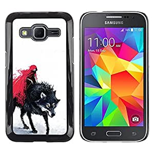CASER CASES / Samsung Galaxy Core Prime SM-G360 / Red Riding Hood & Evil Wolf / Delgado Negro Plástico caso cubierta Shell Armor Funda Case Cover