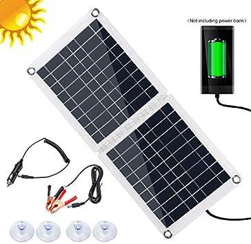 S SMAUTOP Cargador Solar Portátil, Cargador de Panel Solar de 60 W con Salida de 2.8A USB y Tipo C, Paquete de Baterías de 2 Paneles para Dispositivo USB/Camping Al Aire Libre/Emergencia: