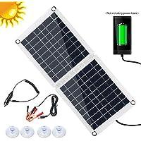 S SMAUTOP Cargador Solar Portátil, Cargador de Panel Solar de 60 W con Salida de 2.8A USB y Tipo C, Paquete de Baterías de 2 Paneles para Dispositivo USB/Camping Al Aire Libre/Emergencia