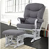 Dutailier ULTRAMOTION Glider Multi-Position Recline Sleigh and Ottoman Combo, Grey/Dark Grey