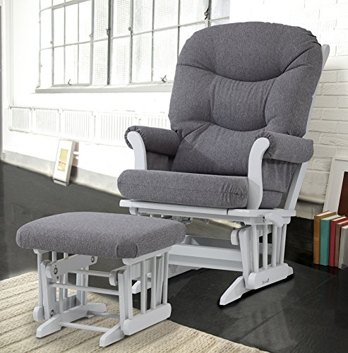 Dutailier ULTRAMOTION Glider Multi-Position Recline Sleigh and Ottoman Combo, Grey/Dark (Nursery Multi Position Wood Glider)