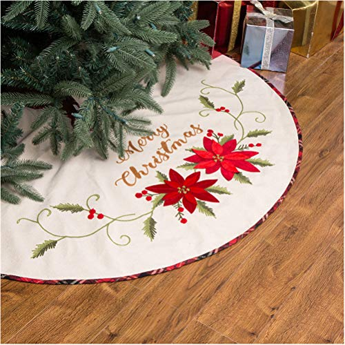 """Glitzhome Fabric Poinsettia Tree Skirt Christmas for Xmas Holiday Decorations Indoor Outdoor Tree Ornaments, 48"""" inches(in Diameter)"""