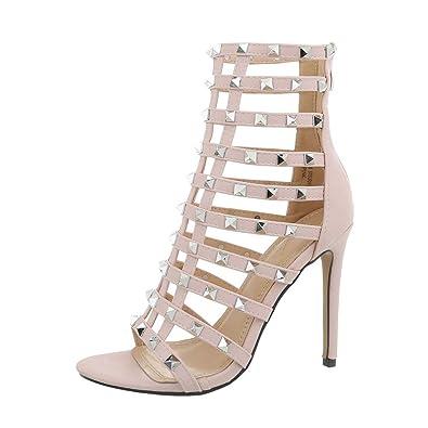 4a7377ddc71476 Ital-Design Damenschuhe Sandalen   Sandaletten High Heel Sandaletten  Synthetik Hellrosa Gr. 35