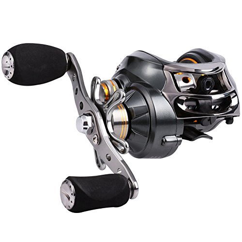 Sougayilang Baitcasting Reel, 11+1 Stainless Steel Bearings, 18LB Super Drag, Magnetic Brake System Fishing Reel for Bass, Crappies, Perch, Trout, Walleyes (Baitcast Walleye Rod)
