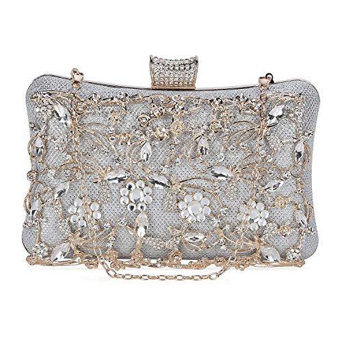Selighting Bolso de Noche de Lujo Bolso de Hombro Mujer Glitter Diamond Hard Shell Clutches Embrague Bolsos de Diamantes de imitación Hechos a Mano para Boda/Fiesta/Baile (plateado)