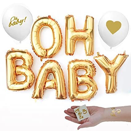 97d717830 Girl Boy Baby Shower Mylar Balloons Two Oh Baby Tattoos and Two Gold  Lettering White Balloons Decorations: Toys & Games