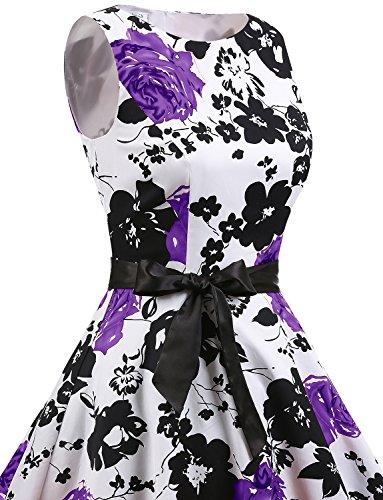 Retro White Cóctel Sin Vestidos Pin Flower Up Fiesta Gardenwed Mujer Mangas Lavender zOYAFqBOw