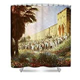 Pixels Shower Curtain (74'' x 71'') ''The King Is Coming Jerusalem''