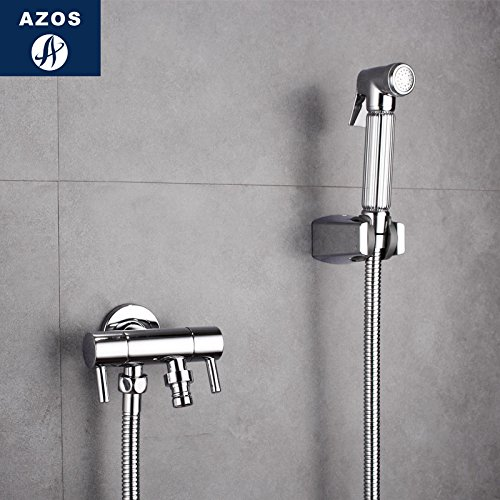 Azos Bidet Faucet Pressurized Sprinkler Head Brass Chrome Cold Water Two Function Washing Machine Pet Bath Shower Room Round PJPQ004D by AZOS