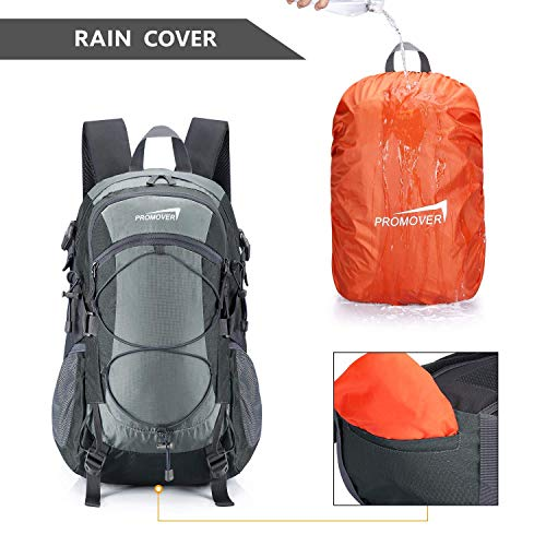 Promover Hiking Backpack 35 L Waterproof Outdoor Backpacks with Rainfly High-Performance Backpack for Backpacking Outdoor Hiking(Light Grey/Dark Grey)