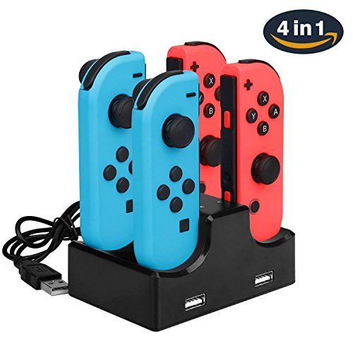 Joy Con Charging Dock for Nintendo Switch, Neropoke Controller Charger with LED Indicator 4 in 1 Charging and USB Type C Cable