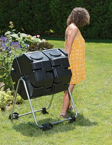 Gardener's Supply Company Dual Batch Outdoor Compost Tumbler with Wheels, Easy Turning, Holds 3 Cubic Feet